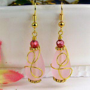 Pink Sea Glass Gold Earrings